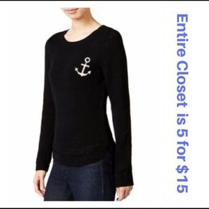 823c4ed4d4 Maison Jules Black Anchor Patch Knit Sweater
